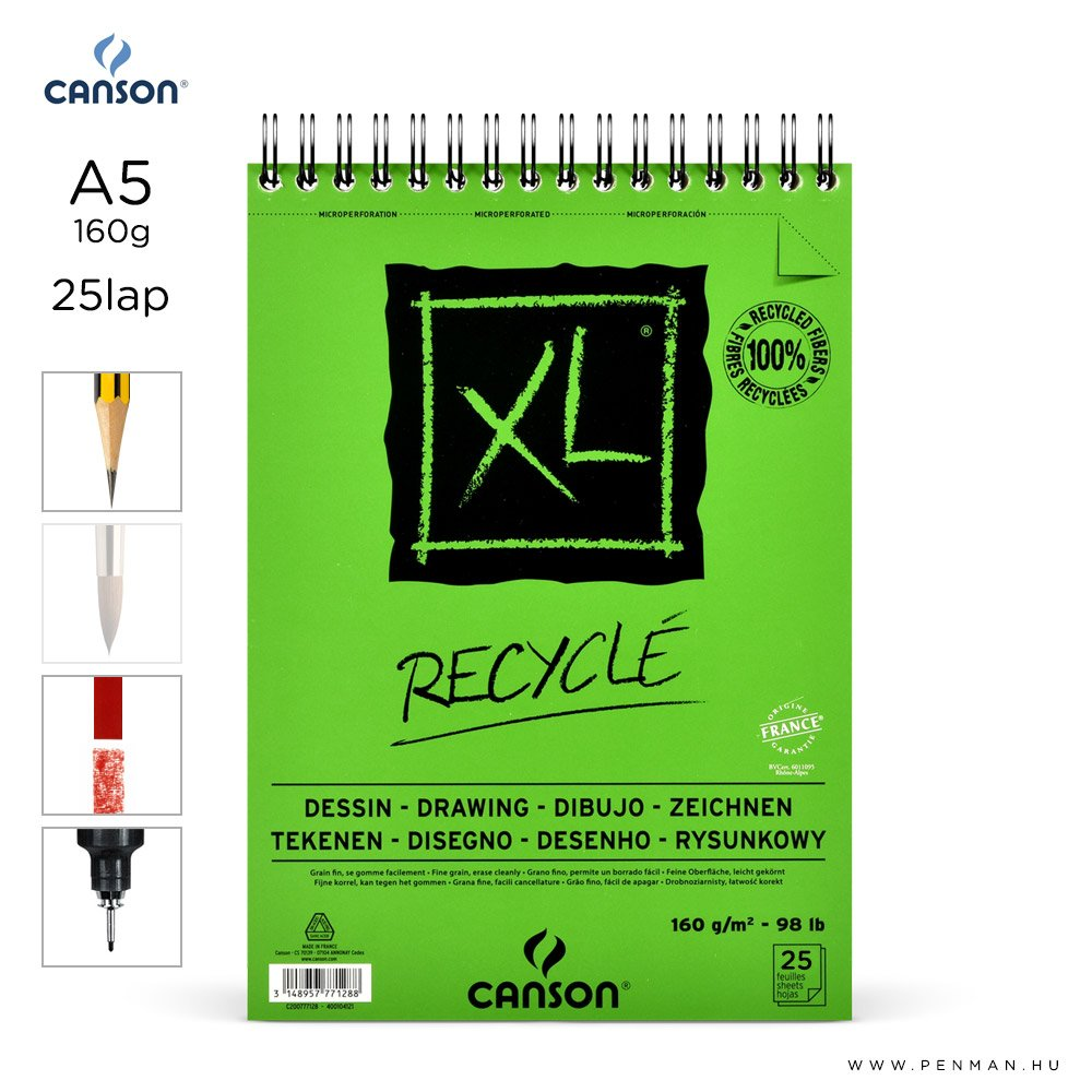 canson xl recycle papir a5 25lap 160g rs finom