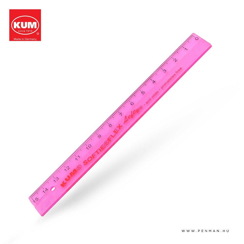 kum 15cm balkezes vonalzo pink